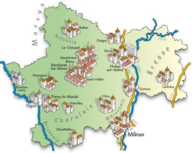 Saone et Loire département region Bourgogne Franche Comte