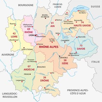 Region Rhone Alpes Ain, Ardeche, Drome et Isere